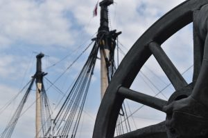 HMS Victory's masts. Victory is still a member of the English navy and theoretically could be reactivated to defend the kingdom.