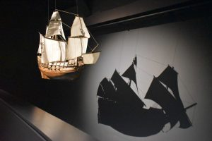 A model of how the Mary Rose may have looked before her sinking July 19, 1545.