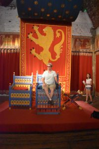 Lisa on the throne at Dover Castle. The castle is particularly well-preserved with rooms furnished as they were during Tudor times.