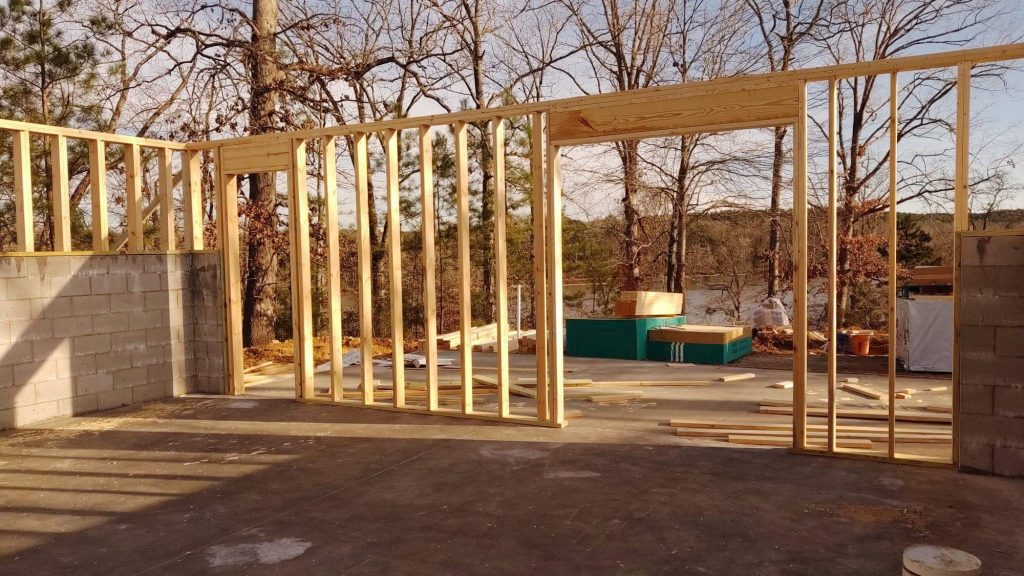 Looking out through the basement framing.